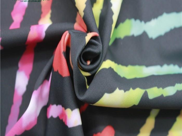 针织面料印花 涤纶弹力针织双面布