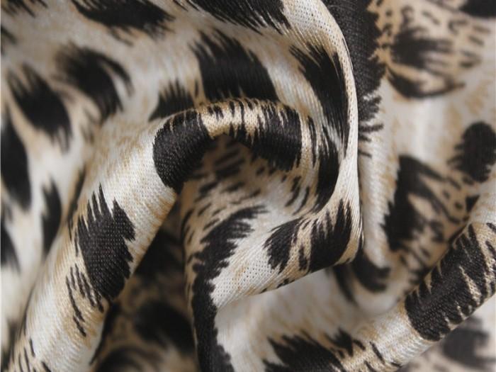 锦纶弹力针织面料厂家  豹纹印花色丁服装针织弹力面料