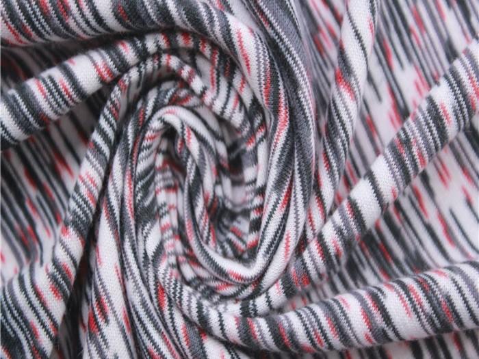 运动针织面料厂家  涤纶弹力段染汗布