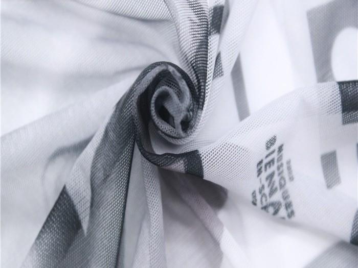 针织印花弹力网布 涤纶弹力针织网眼布