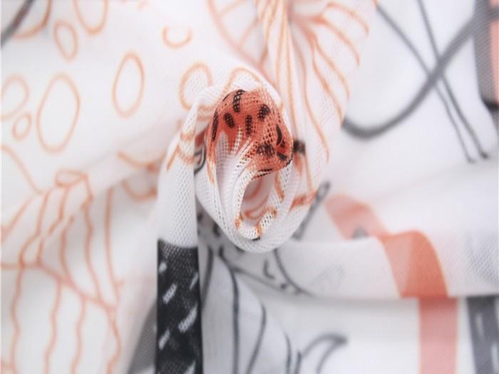 轻薄涤纶弹力印花网布 针织弹力网眼布厂家