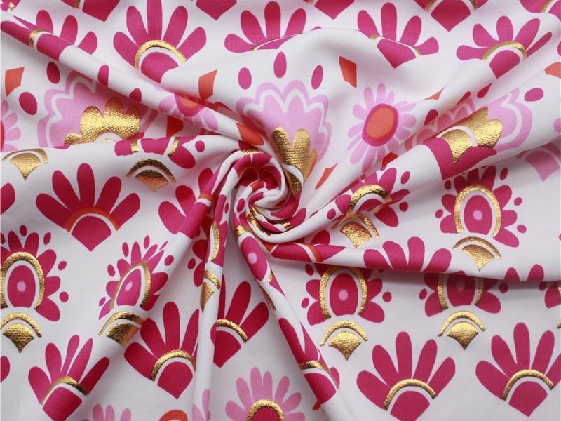 锦氨花朵印花定位烫金泳衣布 数码印花泳布