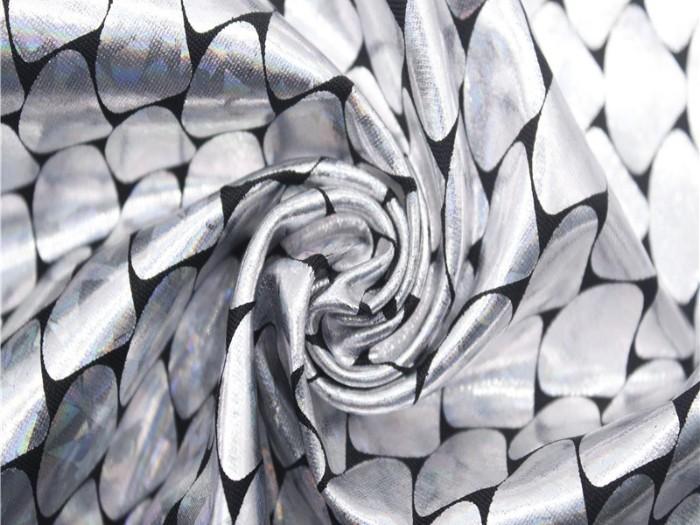 鱼鳞纹烫金针织布 氨纶弹力布 美人鱼演出服烫金镭射针织面料