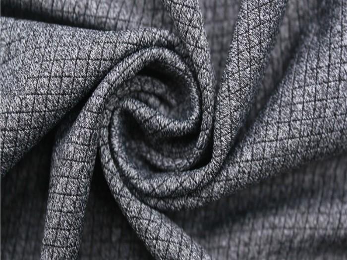小方格锦涤氨提花面料  运动针织单面汗布