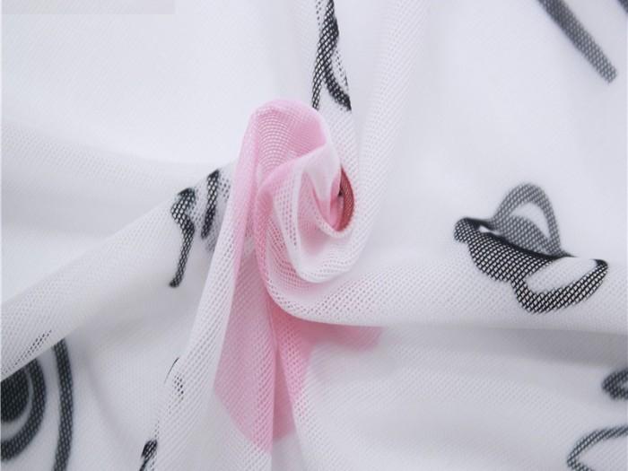 针织弹力印花网眼布 涤纶弹力针织网布厂家