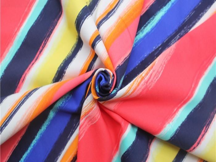 印花针织弹力面料厂家 尼龙四面弹力针织布 单面汗布厂家