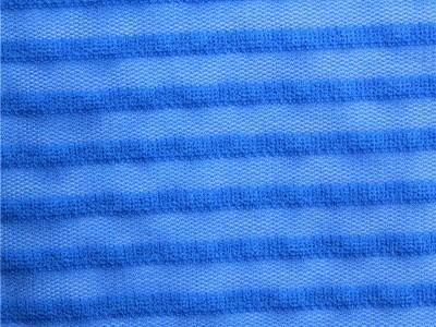 锦氨横条间网布 提花弹力网眼布 针织提花网布