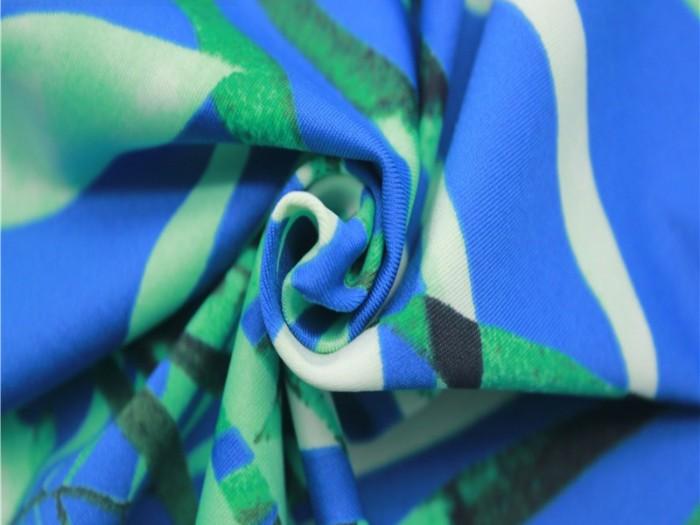 数码印花涤氨四面弹力泳衣布 泛馨针织面料厂家
