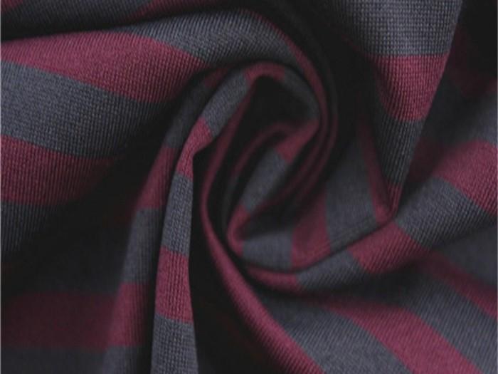 条纹针织涤纶弹力面料 运动休闲服T恤面料 针织布厂家